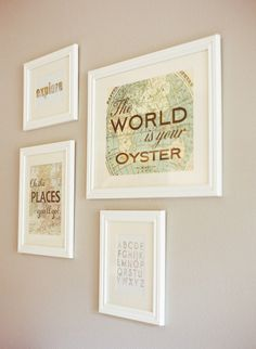 Gallery wall: http://www.stylemepretty.com/living/2015/04/03/a-lovely-travel-themed-nursery/ | Photography: Jen Rodriguez - http://www.jen-rodriguez.com/