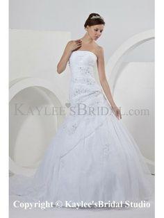 Satin Organza Strapless Court Train Ball Gown Wedding Dress Ruffle
