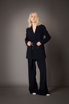 2021-22 A/W 001, Vintage Finished Double Georgette Belted Tailored Jacket FRC-J03-500F, Vintage Finished Double Georgette Slit Baggy Pants FRC-P03-500 Tailored Jacket, Formal, Pants, Jackets, Vintage, Style, Fashion, Gowns, Preppy