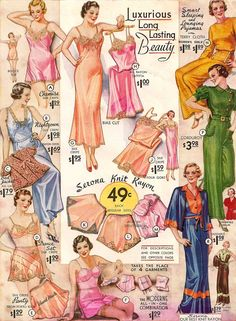 Lingerie and Sleepwear page from 1934 Sears Catalog, great for helping you date vintage!