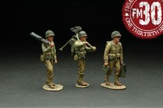 World War II U.S. Infantry Divisions RMA-013 Red Bull 30 Caliber Machine Gun Team - Made by Figarti Military Miniatures and Models. Factory made, hand assembled, painted and boxed in a padded decorative box. Excellent gift for the enthusiast.