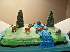 Homemade Wilderness Theme Birthday Cake: My daughter requested a hunting/wilderness related cake for her 12th birthday and this Wilderness Theme Birthday Cake is what I came up with. I started