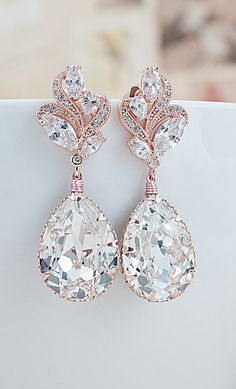 Luxury Rose Gold Cubic Zirconia ear posts with Swarovski Crystals Bridal Earrings From EarringsNation Rose Gold Weddings Blush Weddings