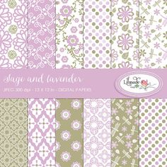 Sage and lavender digital papers scrapbook papers and by bylilmade