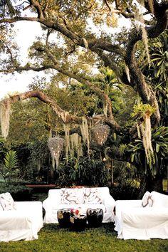 tropical garden wedding. spanish moss chandeliers