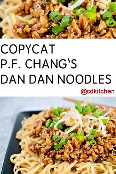 Ground chicken is simmered in a spicy sauce and served over Asian egg noodles, just like at P.F. Chang's  | CDKitchen.com