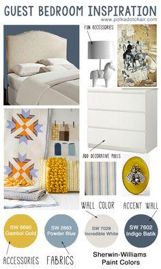 Guest Bedroom ideas polkadotchair, Ideas for decorating guest bedrooms, Sherwin Williams Paint color ideas, best paint colors, indigo batik