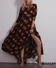 Fashion Floral Printing Maxi Dress m.OASAP.com