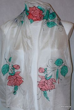 Hand painted silk shawl silk scarf spring floral by MaKatarina