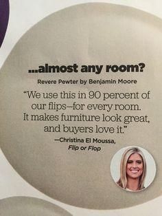 HGTV magazine | BM  #Revere Pewter for Flip or Flopwww.ellesvision.com #Jacksonville,Fl
