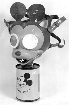 Disney's Mickey Mouse gas mask was designed to eliminate children's fear of wearing the chemical warfare preventative device The production of the Disney gas masks began in 1942, a month after the Japan surprised Americans and attacked Pearl Harbor. The Sun Rubber Company produced approximately 1,000 Mickey Mouse gas masks with the company's designer Dietrich Rempel and Disney's stamp of approval, Walk notes in his essay. Creepy shite