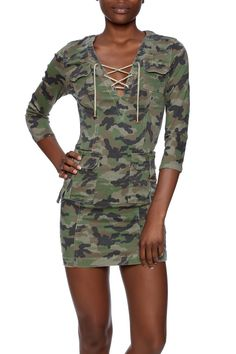 Camo printed fitted dress with 3/4 sleeves, lace up v-neckline and front pockets.   Camo Dress by LITZ. Clothing - Dresses - Short Sleeve Clothing - Dresses - Printed Clothing - Dresses - Casual New York City Manhattan, New York City