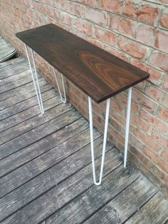 Honey Brown Walnut Poplar Console Table Sofa Table With White Steel Hairpin  Legs