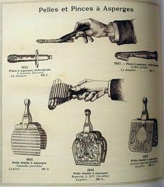 Below is a page from the Christofle catalog of 1898 showing three French asparagus servers that are like the Lebkuecher example in that they are of a similar shape and size and that they also employ a spring mechanism.