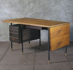Edward Wormley; #5341 Walnut, Mahogany and Brass Drop-Leaf Desk for Dunbar, c1953.