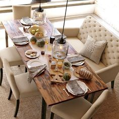Love the casual, but still elegant look of this dining area. Who would have thought I liked cream?