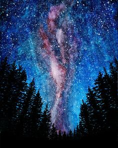 Galaxy painting Watercolor galaxy Milky way Treescape starry night Nature wall a. Galaxy painting Watercolor galaxy Milky way Treescape starry night Nature wall art print Watercolor Night Sky, Night Sky Painting, Watercolor Galaxy, Watercolor Art, Galaxy Painting Acrylic, Art Aquarelle, Galaxy Art, Galaxy Wallpaper, Milky Way