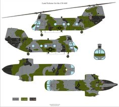 Here is the Boeing/Vertol CH-46E Sea Knight Gray/Green Tactical Camouflage Color Profile and Paint Guide Military Helicopter, Military Aircraft, Augusta Westland, Chinook Helicopters, Camouflage Colors, Camo Outfits, Color Profile, Military Weapons, Military Equipment