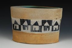 Small Oval with Row of Black and White Houses by Sam Taylor presented by Ferrin Gallery