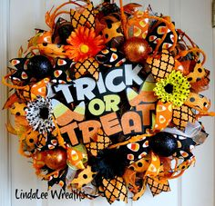 Deco Mesh Halloween Wreath, Trick or Treat Wreath, Halloween Decor, Fall Wreath, Candy Corn, Orange and Black Wreath, Front Door Wreath by LindaLeeWreaths on Etsy