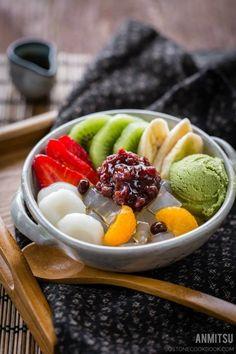 Japanese dessert : Anmitsu フルーツ白玉クリームあんみつ