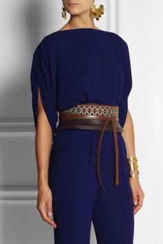#DIANE VON FURSTENBERG Embroidered leather obi belt