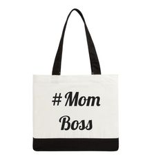 MOM BOSS Hashtag Tote Bag:  Two-Tone Canvas Bag, Funny, Humorous, Blogger Humor, Mom Gift Idea