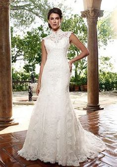 Vintage Sheath/ Column Empire Waist Lace Queen Anne Floor Length Wedding Gowns - 1300103208B - US$259.99 - BellasDress