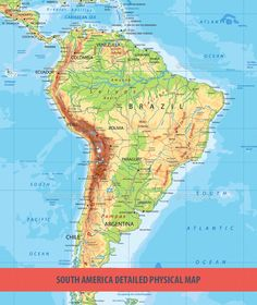 Latin America physical map | Latin America | America, Latin america ...