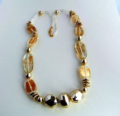 Clear Plastic Bead Gold Foil Necklace by ediesbest on Etsy, $10.95
