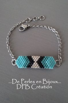 Bracelet tissé perles delicas Miyuki turquoise par DEPERLESENBIJOUX