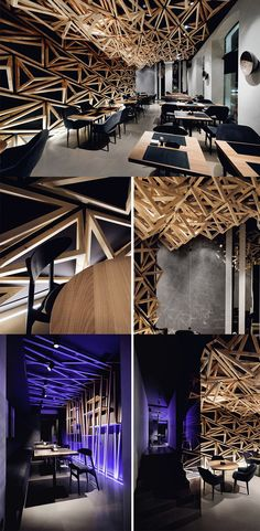 The 'Kido Sushi Bar' by DA Architects is such a visual treat, you'll probably pay less attention to your food, beautiful geometric patterns made in wood adorn  the ceiling and continue all the way to the wall... READ MORE at Yanko Design !