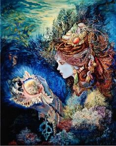 Daughter of The Deep  - Painting by Josephine Wall.  Chart design by Michele Sayetta for Heaven and Earth Designs.
