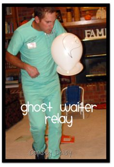 Ghost Waiter Relay ~ balance ghost balloon on paper plate {see also ghost poop relay}