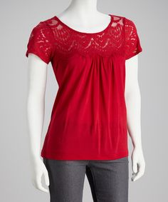 Take a look at this Red Mesh Top by Dex on #zulily today!
