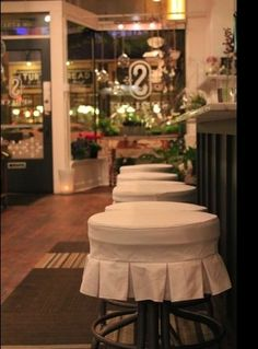 slipcovered stool seats...adorable!