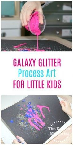 Glitter Space Art for Preschoolers Let your little astronauts make their own galaxy! This is definitely a favorite for a preschool space theme! Check it out! Space Crafts Preschool, Space Activities, Kids Learning Activities, Preschool Ideas, Preschool Science, Painting Activities, Preschool Education, Toddler Learning, Science Ideas