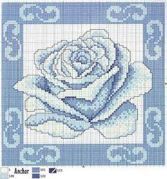 Cross Stitch Rose, Stitch 2, Cross Stitch Flowers, Cross Stitching, Cross Stitch Embroidery, Cross Stitch Patterns, Blackwork, Blue Roses, Flower Patterns