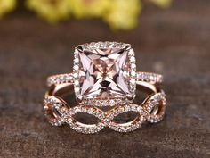 8mm Princess Cut Pink morganite engagement ring set,Micro pave diamond wedding band,2pcs rings,solid 14k rose gold,unique split shank band - BBBGEM