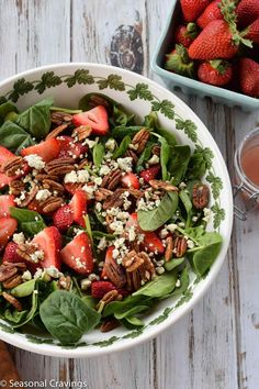 This fresh Strawberry and Pecan Spinach Salad is easy to put together, healthy, gluten-free and a great way to show off summer strawberries.