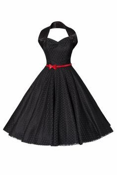 Vivien of Holloway - 1950s Retro halter luxury Black Satin Lace swing dress