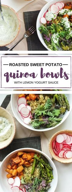 Tasty, fluffy quinoa gets topped with roasted sweet potatoes, asparagus, and a lemon yogurt herb sauce. Delicious and healthy vegetarian grain bowls are perfect for lunch or dinner.
