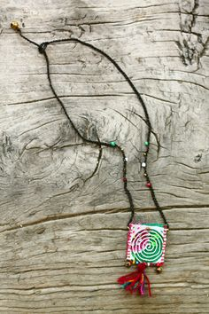 Tribal pouch amulet / keepsake / wish necklace in Fairy Garden #wish #wishnecklace #amulet #tribal