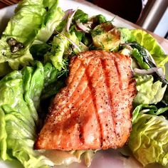 #tgwh grilled salmon salad, butter lettuce, freckled romaine, dill dressing, caper, red onion, potato