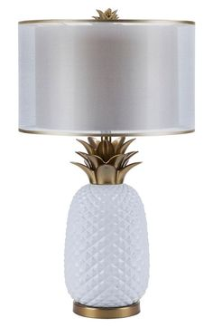 Add a welcoming, tropical touch to your interior décor with a glossy ceramic lamp fashioned in the shape of a pineapple, complete with polished brasstone leaves and a double-layered shade. Pineapple Room Decor, Pinapple Decor, Pineapple Lamp, Pineapple Girl, Pineapple Decorations, Gold Pineapple, White Home Decor, Coastal Decor, Brass Lamp