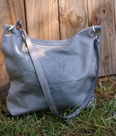 Dusty Dove Blue Italian Leather Zipper Top Shoulder Bag Crossbody Handbag Messenger Goat Skin Handmade in USA by jewelrypieces on Etsy