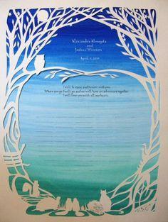 Bosco testimone matrimonio quacchero certificato - opera Papercut - calligrafia