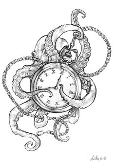 A personal pencil piece of an octopus and a pocket watch. Copyright belongs to Anita K. Olsen Støbakk/Anita K. Olsen Illustrasjon. Please do not use without explicit permission from the artist!