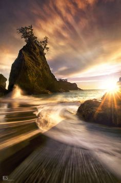 ~~Secret Sunset ~ Sea Stack at Sunset and a pounding Pacific Ocean, Southern Oregon Coast by Leif Erik Smith~~