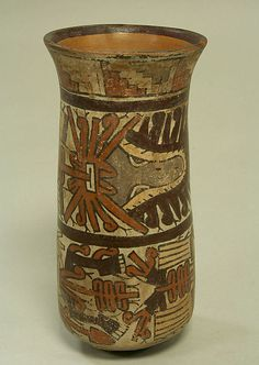 Beaker  Date:     5th–7th century Geography:     Peru Culture:     Nasca Medium:     Ceramic